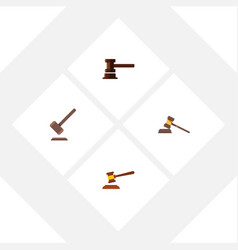 flat icon hammer set of court tribunal vector image vector image