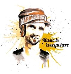 Man ink hipster headphones vector image vector image