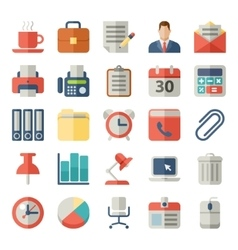 Office and business Flat icons for Web Mobile vector image vector image