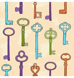 Retro keys pattern vector image vector image