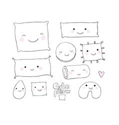 Set of cute cartoon pillows vector image