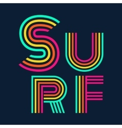 surf typography t-shirt graphics vector image vector image
