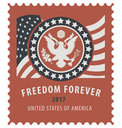 usa postage stamp with the eagle and american flag vector image