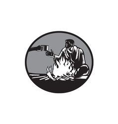 Camper Campfire Cup of Coffee Circle Woodcut vector image vector image