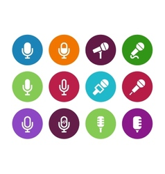 Microphone circle icons on white background vector image vector image