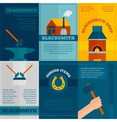 Blacksmith shop flat icons set vector image