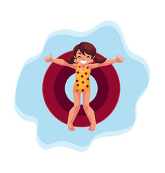 happy teenage girl with ponytails swimming on vector image vector image