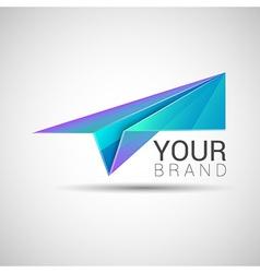 Paper plane logo design Purple turquoise color vector image vector image