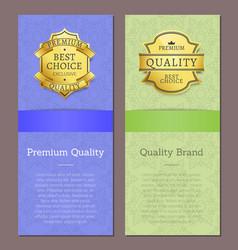 premium quality brand award big choice text vector image