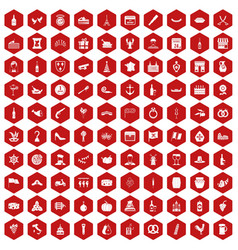 100 alcohol icons hexagon red vector
