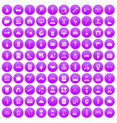 100 craft icons set purple vector