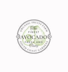 Avocado farm round frame badge or logo template vector