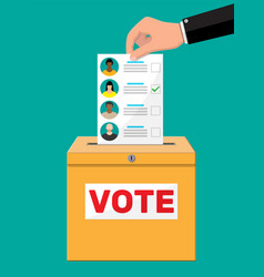 ballot paper with candidates vector image