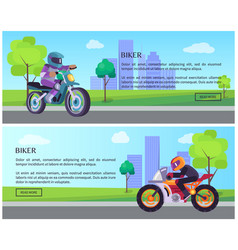 biker man on scooter drives to work banners set vector image