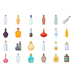 bottle icon set cartoon style vector image