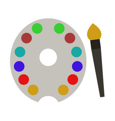 brush and palette icon vector image
