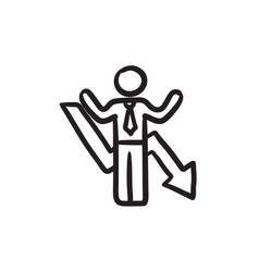 Businessman with arrow down sketch icon vector