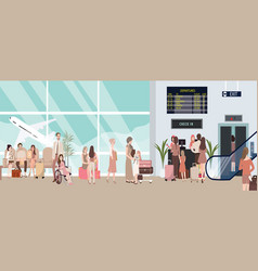 Busy airport scene with plane vector