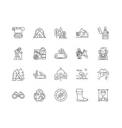 camping line icons signs set outline vector image