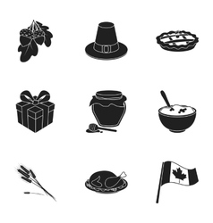 Canadian Thanksgiving Day set icons in black style vector