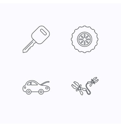 Car key wheel and repair service icons vector image