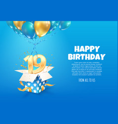celebrating 19 th years birthday vector image