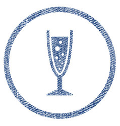 champagne glass rounded fabric textured icon vector image