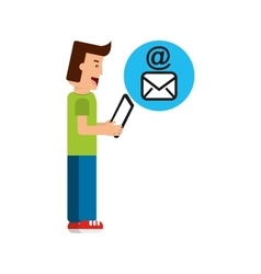 character boy with tablet email mail vector image