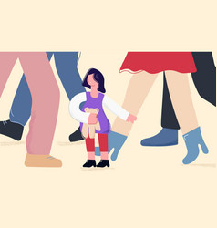 Child girl in adults world flat vector