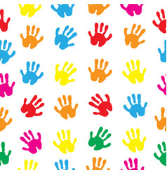 Children s hands hand prints seamless texture vector