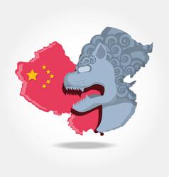 chinese culture lion emblem vector image