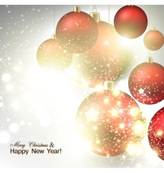 Christmas background with Red christmas balls and vector