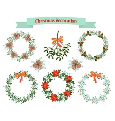 Christmas decoration set of elements vector