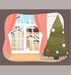 christmas room interior tree vector image