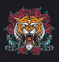 Colorful aggressive tiger head vector
