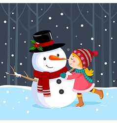 Cute girl kissing a snowman vector image