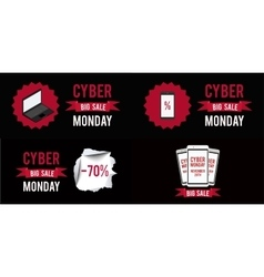 Cyber monday sale banner set witn black background vector