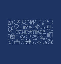 cyberattack concept outline horizontal vector image