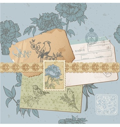 Design elements - Vintage Bird and Peony Set vector
