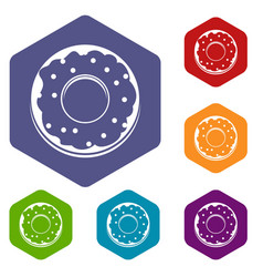 Donut icons set hexagon vector