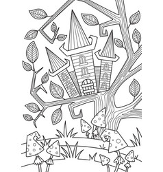 doodle halloween coloring book page spooky house vector image