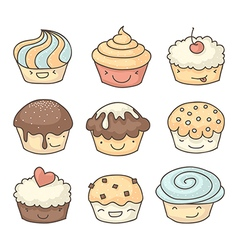 Doodle muffins set vector