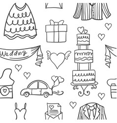 doodle of wedding element unique style vector image