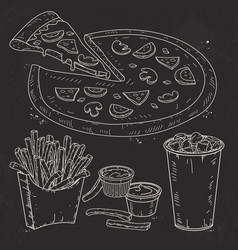 doodle set fast food pizza sauce and vector image