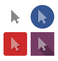 Dotted icon pointer arrow in four variants vector