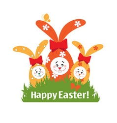 Easter bunnies on the lawn vector