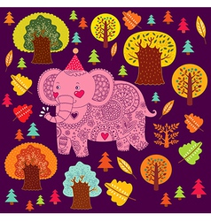 Elephant birthday greeting design vector