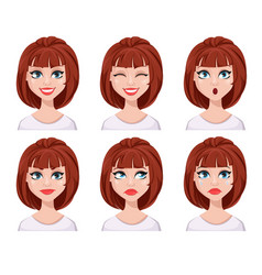 Face expressions of woman with brown hair vector