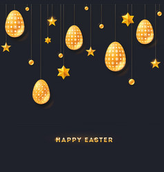 festive banner with greeting for happy easter vector image