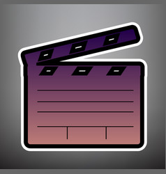 film clap board cinema sign violet vector image